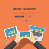 Flat showcase mockup template for mobile solutions Stock Photos