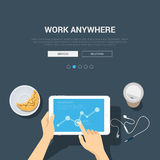 Flat showcase mockup template for work anywhere. Showcase mockup modern flat design vector illustration concept for work anywhere. Hands touch tablet graphic Royalty Free Stock Photo