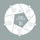 Flat shutter diagram template for your business presentation with text areas and icons Royalty Free Stock Images
