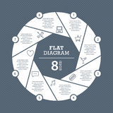 Flat shutter diagram template for your business presentation with text areas and icons Stock Photos