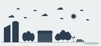 Flat silhouette design graphic image concept of Urban Landscape. Vector Illustration Royalty Free Stock Images