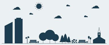 Flat silhouette design graphic image concept of Urban Landscape. Vector Illustration Royalty Free Stock Photography