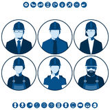 Flat silhouettes of construction workers royalty free illustration