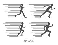 Flat silhouettes of runners. Black figures marathoner. Stock Images