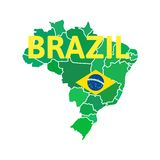 Flat simple Brazil map Royalty Free Stock Photography