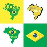 Flat simple Brazil map Royalty Free Stock Image