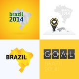 Flat simple Brazil map Royalty Free Stock Images