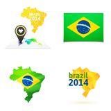 Flat simple Brazil map Royalty Free Stock Image