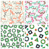 Flat simple geometric shapes in seamless pattern fixated Stock Photo