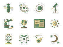 Flat simple icons for Astronomy Stock Image