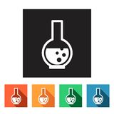 Flat simple icons (beaker, science, physics, chemistry),  Royalty Free Stock Photos