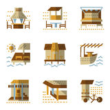 Flat simple icons for bungalows Stock Images