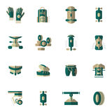 Flat simple icons for longboarding Royalty Free Stock Photo