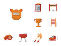Flat simple icons for physical education Stock Images