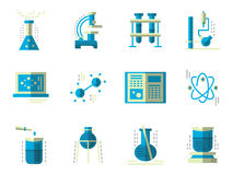 Flat simple icons for science. Chemistry Stock Photo