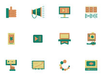 Flat simple icons for video blogging. Colorful flat simple style icons and signs for video blogging. Social networks, communication, blogging. Design elements Royalty Free Stock Image