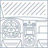 Flat simple line illustration of car interior view Royalty Free Stock Photos