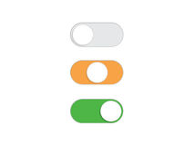 Flat simple On Off Toggle switch button vector Royalty Free Stock Images