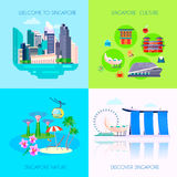 Flat Singapore Culture Icon Set. Four square flat Singapore culture icon set with welcome Singapore Singapore culture Singapore nature and discover Singapore Royalty Free Stock Images