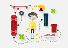 Flat skater with items for skating. On white background Royalty Free Illustration