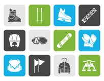 Flat ski and snowboard equipment icons. Vector icon set Stock Photos