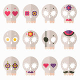 Flat skull icon set Stock Image