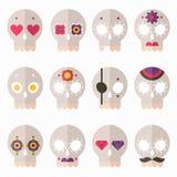 Flat skull icon set Stock Image