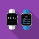 Flat smart watch with long shadow. Vector icon Stock Image