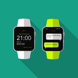 Flat smart watch with long shadow. Vector icon Stock Images