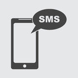 Flat smartphone icon. Sms message. Vector illustration Stock Photos