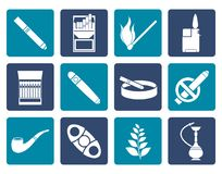 Flat Smoking and cigarette icons vector illustration