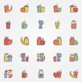 Flat smoothie icons set Royalty Free Stock Image