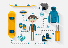 Flat snowboarder with items for riding. On white background Stock Illustration