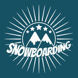 Flat snowboarding with mountains. Royalty Free Stock Image