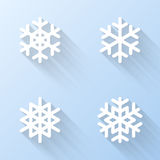 Flat snowflake icons. Vector illustration. Set of flat snowflake icons. Vector design elements Stock Illustration