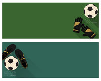 Flat soccer banner. Soccer banner flat style with green color background Royalty Free Stock Photography