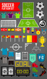 45 flat soccer icon set Royalty Free Stock Photography