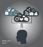 Flat social media icons with human heads, Stock Photos
