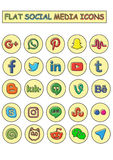 Social Media Icons. Flat social media icons. Make with Ai. Ai file. very simple, suitable for design, web, wallpaper, mobile applications, social networks, etc Royalty Free Stock Image