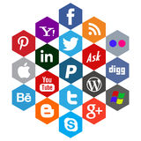 Flat social media vectors Stock Images