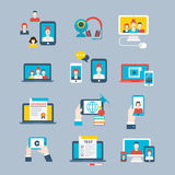Flat Social network concept phone laptop communica Royalty Free Stock Images