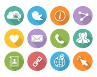 Flat Social network icons set Stock Photo