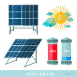 Flat solar panels battery and sun Royalty Free Stock Image