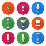 Flat solid colors alcohol glasses set. Flat design solid colors alcohol glasses set Royalty Free Stock Photos