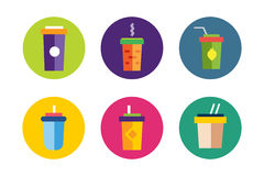 Flat soup vector icons collection Royalty Free Stock Photos
