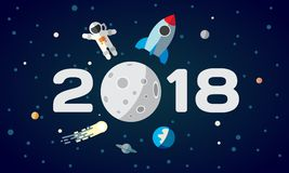 Flat space illustration for calendar. The astronaut and rocket on the moon background. 2018 Happy New Year cover, poster, fl. Flat space theme illustration for Royalty Free Stock Images