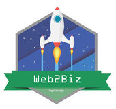 Flat space logo. Illustrative version of the design of the space jar for business Stock Images