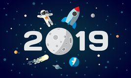 Flat space theme illustration for calendar. The astronaut and rocket on the moon background. 2019 Happy New Year cover. Poster stock illustration