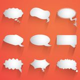 Flat speech bubble icon with long shadow set Royalty Free Stock Images