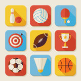 Flat Sport and Activities Squared App Icons Set. Flat Style Vector Illustrations. Team Games. First place. Collection of Square Rectangular Shape Application Stock Photography